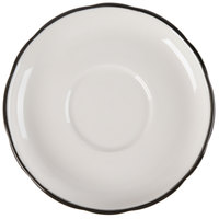 CAC SC-2B 6 inch Scalloped Edge American White (Ivory / Eggshell) China Saucer with Black Band - 36/Case