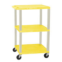 Luxor / H. Wilson WT1642E Yellow Tuffy Open Shelf A/V Cart 18 inch x 24 inch with 3 Shelves - Adjustable Height