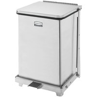 Rubbermaid FGST7 The Defenders Stainless Steel Square Medical Step Can with Retainer Bands 7 Gallon - (FGST7SSRB)