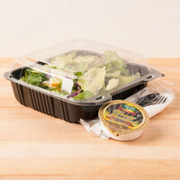 Par-Pak 29588 8 inch x 8 inch PET Black and Clear Hinged Take-out Container - 200 / Case