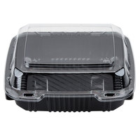 Polar Pak 29588 8 inch x 8 inch PET Black and Clear Hinged Take-out Container - 200/Case