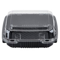 Par-Pak 29588 8 inch x 8 inch PET Black and Clear Hinged Take-out Container - 200/Case