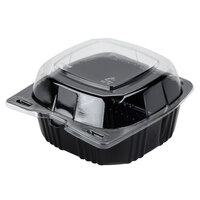 Par-Pak 29567 5 inch x 5 inch PET Black and Clear Hinged Take-out Container - 500 / Case