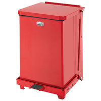 Rubbermaid FGST7E The Defenders Steel Square Red Medical Step Can with Retainer Bands 7 Gallon - (FGST7ERBRD)