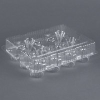 Par-Pak 9513 12 Compartment Clear Hinged PET Cupcake Takeout Container - 100 / Case