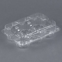 Par-Pak 2466 6 Compartment Low Dome Clear Hinged Cupcake / Muffin Takeout Container - 500 / Case