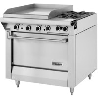Garland M48-23R Master Series Natural Gas 2 Burner 34 inch Range with 23 inch Griddle and Standard Oven - 154,000 BTU (Thermostatic Controls)