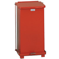 Rubbermaid FGST12E The Defenders Steel Square Red Medical Step Can with Retainer Bands 12 Gallon - (FGST12ERBRD)