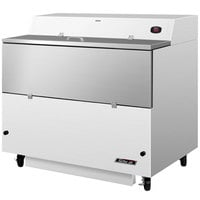 Turbo Air TMKC-49S-WA 49 inch Single Sided White Vinyl and Stainless Steel Milk Cooler - 115V