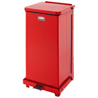 Rubbermaid FGQST12E The Silent Defenders Red Square Steel Quiet Step Can with Rigid Plastic Liner 12 Gallon (FGQST12EPLRD)