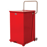 Rubbermaid FGST40EW The Defenders Steel Square Red Medical Step Can with Wheels and Rigid Plastic Liner 40 Gallon - (FGST40EWPLRD)