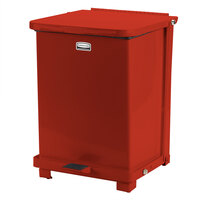 Rubbermaid FGQST12E The Silent Defenders Red Square Steel Quiet Step Can with Retainer Bands 12 Gallon (FGQST12ERBRD)