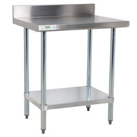 Regency 18 Gauge 24 inch x 30 inch 304 Stainless Steel Commercial Work Table with 4 inch Backsplash and Undershelf