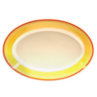 Homer Laughlin 1538082 Martiques 9 1/2 inch Rolled Edge Oval Platter - 24 / Case