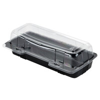 Par-Pak 29566 9 inch x 4 inch x 3 inch PET Black and Clear Hinged Hoagie / Sub Take-Out Container - 25 / Pack