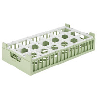Vollrath 52814 Signature Half-Size Light Green 18-Compartment 4 1/8 inch Short Rack