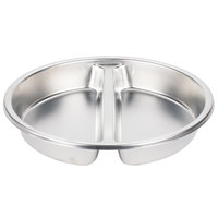 Stainless Steel Round Divided Food Pan for 6 Qt. Round Roll Top Chafer