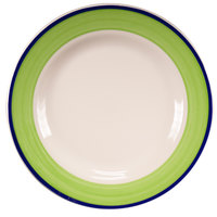 Homer Laughlin 2095083 Shamrock and Cobalt 10 1/4 inch Rolled Edge Plate - 12/Case