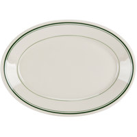 Homer Laughlin 1530001 Green Band Rolled Edge 9 1/2 inch Oval Platter - 24/Case