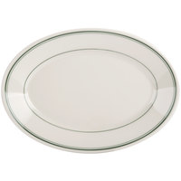 Homer Laughlin 1550001 Green Band Rolled Edge 11 3/4 inch Oval Platter - 12/Case