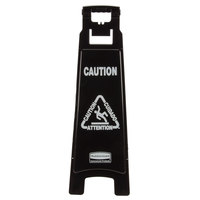 Rubbermaid 1867509 Executive 37 inch Black 4-Sided Multi-Lingual Caution Sign