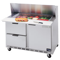Beverage Air SPED48-18M-2 48 inch Mega Top Refrigerated Salad / Sandwich Prep Table with 1 Door and 2 Drawers