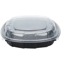 64 oz. Black 10 inch x 10 inch x 3 inch Microwaveable Plastic Hinged Take-Out Container   - 37/Pack