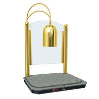 Hatco DCSB400-2420-1 Single Lamp Decorative Carving Station with Sawgrass-Colored Heated Base and Bright Brass Finish - 120V, 750W