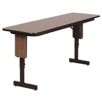 Correll SPA1896PX01 18 inch x 96 inch Walnut Adjustable Height Panel Leg Folding Seminar Table