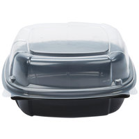 22 oz. Black 6 inch x 6 inch x 3 inch Microwaveable Plastic Hinged Take-Out Container - 57/Pack