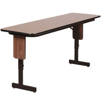 Correll SPA2460PX01 24 inch x 60 inch Walnut Adjustable Height Panel Leg Folding Seminar Table