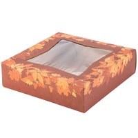 Southern Champion 2462 9 inch x 9 inch x 2 inch Rustic Orange Window Cake / Bakery Box with Autumn Design - 150/Bundle