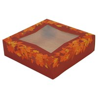 Southern Champion 2462 9 inch x 9 inch x 2 inch Rustic Orange Window Cake / Bakery Box with Autumn Design - 150/Bundle