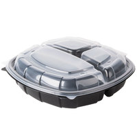 10 inch x 10 inch x 2 3/4 inch (27 / 11 / 11 oz.) Microwavable 3 Compartment Clamshell Take-Out Container - 37 / Pack