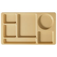 Cambro 915CW133 Camwear (2 x 2) 8 3/4 inch x 15 inch Beige Six Compartment Serving Tray - 24 / Case