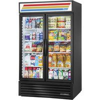 True GDM-43-HC~TSL01 Black Two Swing Glass Door Refrigerated Merchandiser with LED Lighting - 40.6 Cu. Ft.