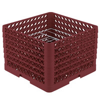 Vollrath PM0912-6 Traex Burgundy 9 Compartment Plate Rack - 11 1/4 inch-12 1/2 inch