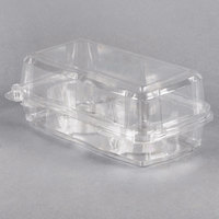 2 Compartment Clear Hinged Cupcake / Muffin Container - 24/Pack