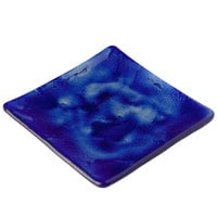 10 Strawberry Street G3001B Izabel Lam Cumulus 5 1/2 inch Blue Glass Square Plate - 12 / Case