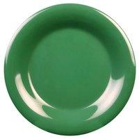 11 3/4 inch Green Wide Rim Melamine Plate - 12/Pack