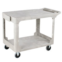 Rubbermaid FG452589BEIG Beige Medium HD Two Flat Shelf Heavy Duty Utility Cart