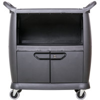 Carlisle CC2036DP03 3 Shelf Black Utility / Bus Cart with Doors and Panels - 300 lb. Capacity