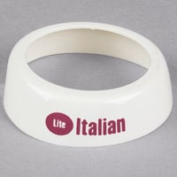 Tablecraft CM21 Imprinted White Plastic Lite Italian Salad Dressing Dispenser Collar with Maroon Lettering
