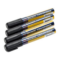 American Metalcraft SMA510V4BL Securit All-Purpose Small Tip Black Chalk Marker - 4 / Pack