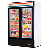 True GDM-49-F-LD White Glass Swing Door Merchandiser Freezer with LED Lighting - 49 Cu. Ft.