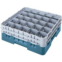 Cambro 25S638414 Camrack 6 7/8 inch High Teal 25 Compartment Glass Rack
