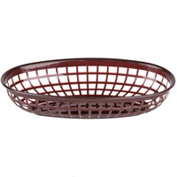 9 1/4 inch x 5 3/4 inch Brown Plastic Oval Fast Food Basket - 12/Pack
