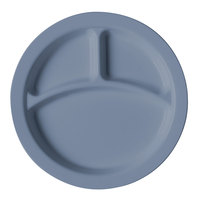 Cambro 93CW401 Slate Blue Camwear 3 Compartment 9 inch Narrow Rim Plate - Polycarbonate 48 / Case