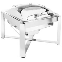 Eastern Tabletop 3944GS 6 Qt. Square Stainless Steel Chafer with Stand and Hinged Glass Dome Cover