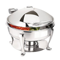 Eastern Tabletop 3908S 6 Qt. Stainless Steel Round Induction Chafer with Stand and Hinged Dome Cover
